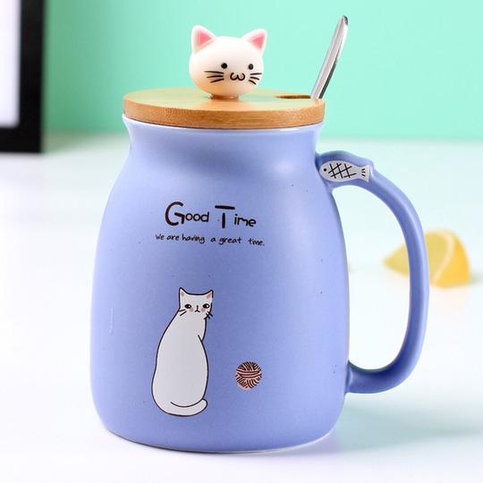 cat mug blue